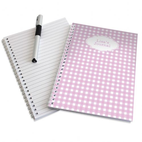 Personalised Girly Gingham A5 Notebook